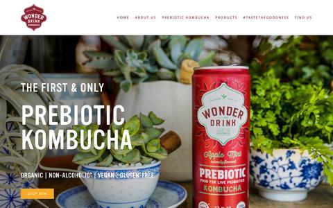 Screenshot of Home Page wonderdrink.com - Wonder Drink | Taste The Goodness - captured Oct. 15, 2018