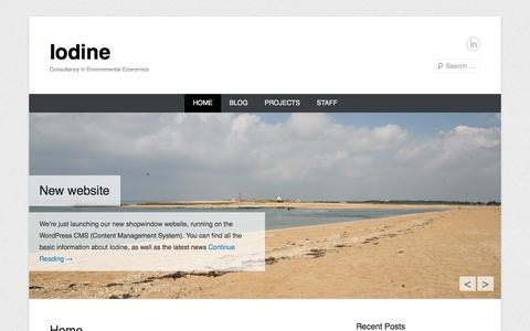Screenshot of Home Page Menu Page iodine.be - Iodine | Consultancy in Environmental Economics - captured Sept. 30, 2014