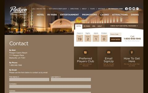 Screenshot of Contact Page paragoncasinoresort.com - Welcome to Paragon Casino Resort in Marksville, Louisiana! - Contact - captured Oct. 20, 2016