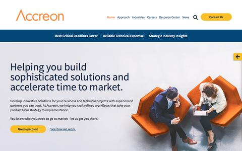 Screenshot of Home Page accreon.com - Home - Accreon - captured June 8, 2018