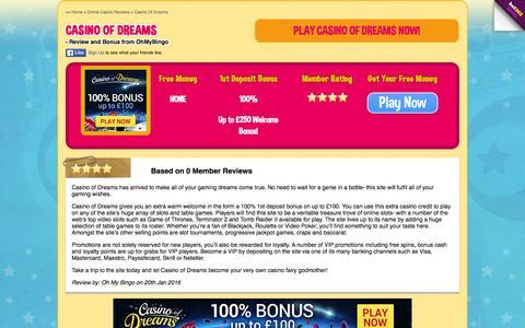 Screenshot of ohmybingo.com - Casino of Dream - 100% Bonus - up to £250 Bonus - captured March 19, 2016