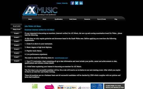 Screenshot of Jobs Page axmusic.co.uk - AXMusic Guitar Exams Jobs Within Axmusic AXMusic Guitar Exams - captured Sept. 30, 2014