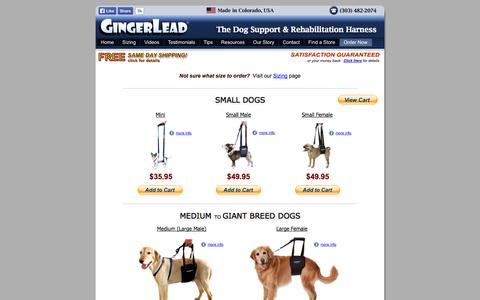Screenshot of Products Page gingerlead.com - Dog Sling Harnesses | Handicapped Dog Support Sling | Knee or Hip Recovery Slings | Free Shipping - captured Oct. 2, 2014
