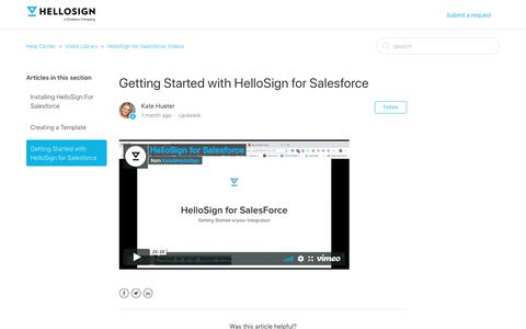 Screenshot of Support Page hellosign.com - Getting Started with HelloSign for Salesforce  – Help Center - captured Feb. 21, 2020