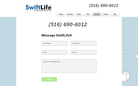 Screenshot of Contact Page Site Map Page swiftlife.store - Contact | Computer Services | SwiftLife | Wantagh, NY - captured May 29, 2019