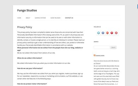 Screenshot of Privacy Page fungostudios.com - Privacy Policy - Fungo Studios - captured May 9, 2017
