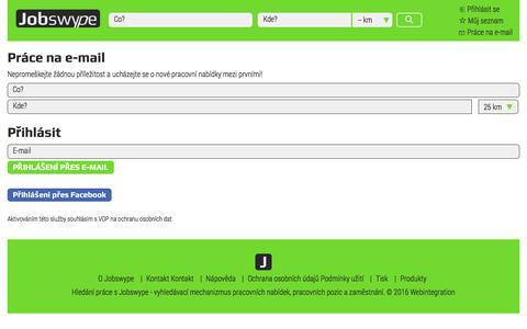 Screenshot of Signup Page jobswype.cz - Práce - pracovní nabídky - zaměstnání - hledání práce v Česku - Jobswype - captured June 23, 2017