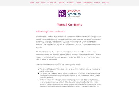 Screenshot of Terms Page lifesciencedynamics.com - Terms & Conditions – Lifescience Dynamics - captured Sept. 28, 2018