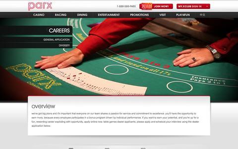 Screenshot of Jobs Page parxcasino.com - careers | parx casino - captured Sept. 19, 2014