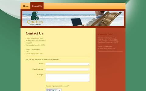 Screenshot of Contact Page cnetics.com - Cnetics Technologies, LLC - Contact Us - captured Jan. 29, 2016