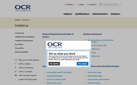 Screenshot of Contact Page ocr.org.uk - Contact us - OCR - captured June 16, 2019