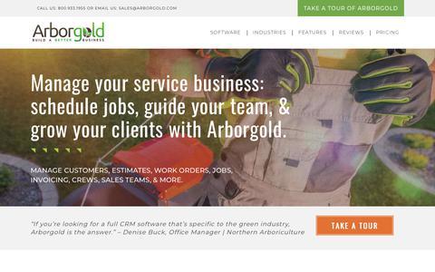 Screenshot of Home Page arborgold.com - Landscaping service business scheduling software | Arborgold - captured Sept. 23, 2018