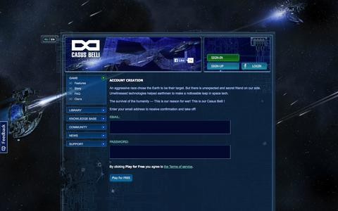 Screenshot of Signup Page infinitios.com - Casus Belli - sci-fi space simulator, play in browser - captured Sept. 30, 2014