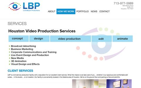 Screenshot of Services Page lockebryan.com - Houston Video Production Services - Locke BryanLocke Bryan Productions - captured Nov. 12, 2016