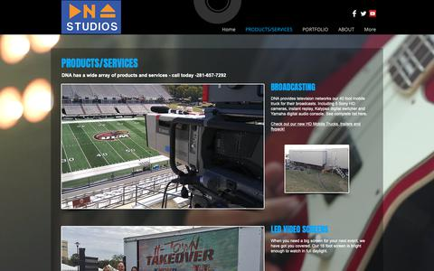 Screenshot of Products Page dnawebs.com - DNA Studios, LLC Houson Tx Mobile TV Trucks | PRODUCTS/SERVICES - captured Oct. 9, 2018