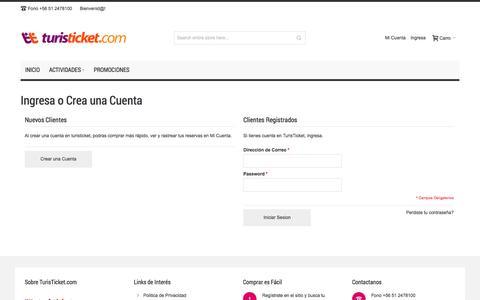 Screenshot of Login Page turisticket.com - Customer Login - captured Oct. 29, 2014