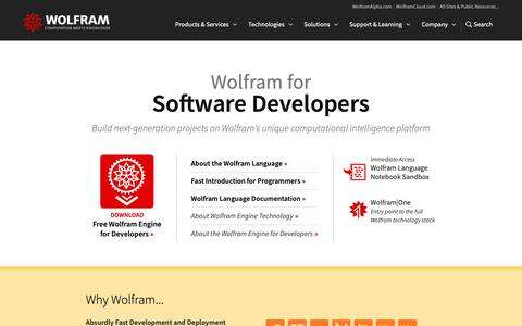 Screenshot of Developers Page wolfram.com - Wolfram for Software Developers - captured May 20, 2019