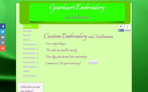 Screenshot of Home Page gearheartembroidery.com - Welcome - captured Sept. 29, 2014