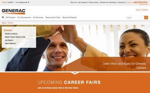 Screenshot of Jobs Page generac.com - Generac Power Systems | About Us | Generac Power Systems - captured Sept. 25, 2014