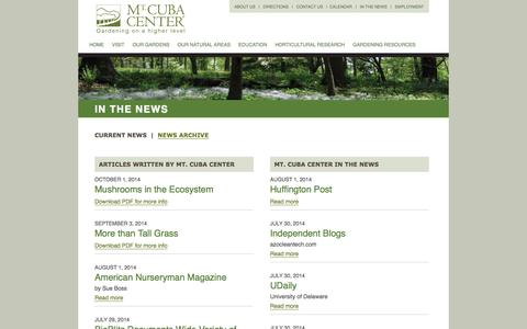 Screenshot of Press Page mtcubacenter.org - In The News  |  Mt. Cuba Center - captured Oct. 9, 2014