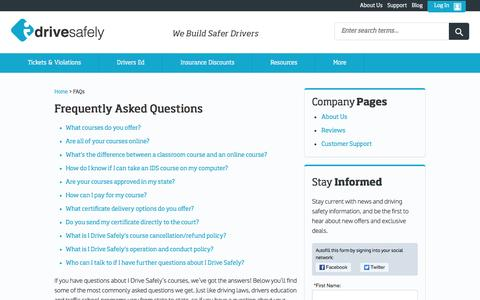Screenshot of FAQ Page idrivesafely.com - Defensive Driving and Traffic School - Frequently Asked Questions - captured July 20, 2016