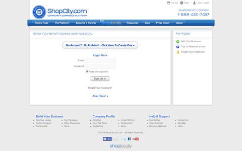 Screenshot of Login Page shopcity.com - ShopCity.com - Community Commerce Platform - captured Sept. 10, 2014
