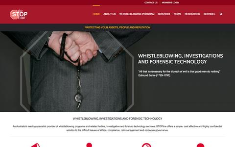 Screenshot of Home Page stopline.com.au - STOPline - Protecting your Assets, People and Reputation : Stopline – Protecting your Assets, People and Reputation - captured Oct. 3, 2014