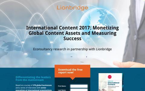 Screenshot of Landing Page lionbridge.com - International Content 2017: Monetizing Global Content Assets and Measuring Success - captured Oct. 3, 2017