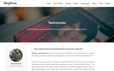 Screenshot of Testimonials Page storyterrace.com - Testimonials | Story Terrace - captured Oct. 20, 2018
