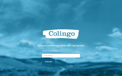 Screenshot of Home Page colingo.com - Colingo   Practice English - captured Sept. 13, 2014