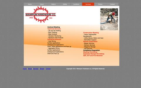 Screenshot of Services Page wampumhardware.com - Wampum Hardware Co. - Services - captured Oct. 1, 2014
