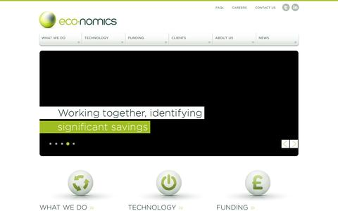 Screenshot of Home Page eco-nomics.co.uk - Eco-Nomics | Helping you reduce operating costs and energy consumption - captured Jan. 25, 2016