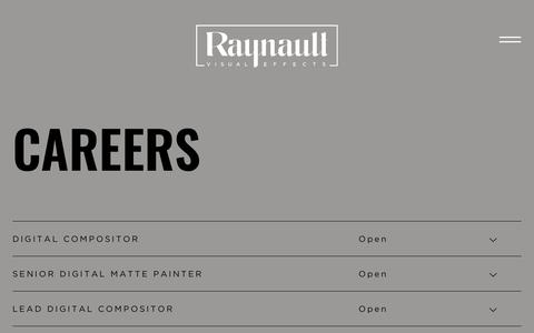 Screenshot of Jobs Page raynault.com - Jobs | Raynault VFX - captured Oct. 19, 2018