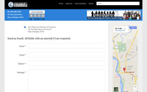 Screenshot of Contact Page Maps & Directions Page nilesmi.com - Four Flags Area Chamber of Commerce - Niles Michigan - Contact Us - captured Feb. 10, 2016