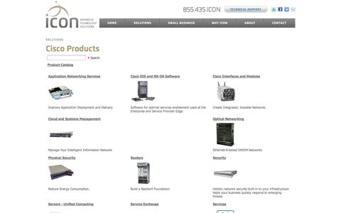 Screenshot of Products Page iconats.com - Solutions: Cisco products | Icon Advanced Technology Solutions - captured Oct. 6, 2014