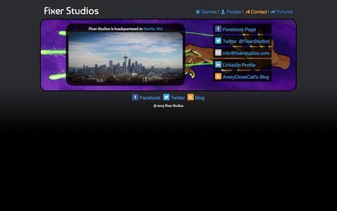 Screenshot of Contact Page fixerstudios.com - Fixer Studios - Contact - captured Sept. 30, 2014
