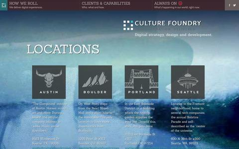 Screenshot of Locations Page culturefoundry.com - Locations - Austin, Boulder, Portland, Seattle - Strategy, design and development for web, mobile and social - Culture Foundry - captured Oct. 28, 2014