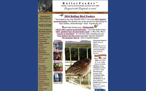 "Screenshot of Home Page rollerfeeder.com - Squirrel Proof Bird Feeders | The RollerFeeder â""¢ - captured Feb. 23, 2016"