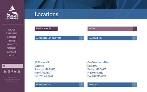 Screenshot of Locations Page woodardcurran.com - Locations - captured Sept. 20, 2018