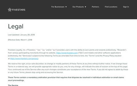 Screenshot of Terms Page fivestars.com - Legal - Fivestars - captured Feb. 28, 2018