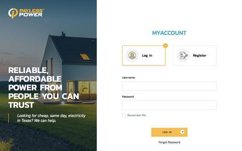 Screenshot of Login Page paylesspower.com - MyAccount - captured Feb. 7, 2018