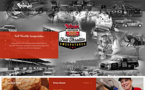 Screenshot of Home Page bojangles.com - Home - Bojangles' Famous Chicken 'n BiscuitsBojangles' Famous Chicken 'n Biscuits - captured July 23, 2016