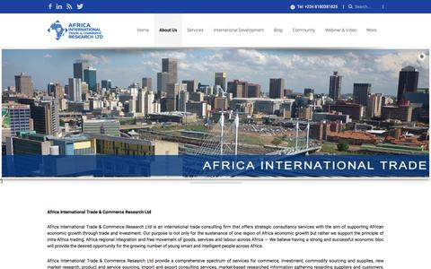 Screenshot of About Page africainternationaltrade.com - Africa International Trade » About Us - captured Feb. 5, 2016