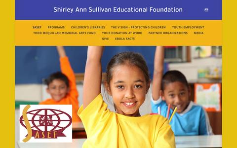 Screenshot of Home Page sasef.org - Shirley Ann Sullivan Educational FoundationSASEF - captured Oct. 6, 2014