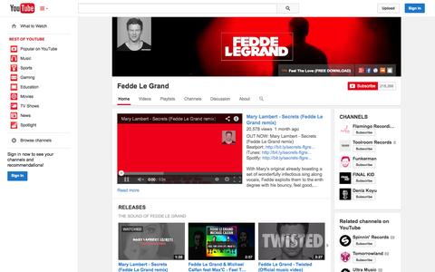 Screenshot of YouTube Page youtube.com - Fedde Le Grand  - YouTube - captured Oct. 23, 2014