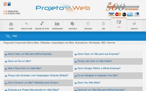 Screenshot of FAQ Page projetoweb.com.br - Perguntas Frequentes Sobre Sites, Websites, Hospedagem de Sites, Buscadores, Otimização, SEO, Internet - captured Jan. 15, 2016