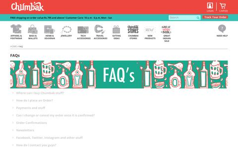 Screenshot of FAQ Page chumbak.com - FAQ :: Chumbak - captured Sept. 12, 2014