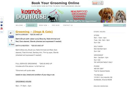 Screenshot of Services Page scottsdalegrooming.com - Services | Kosmo's Doghouse - Scottsdale Dog Grooming, Natural Pet Supplies, Free Self Wash, Dog Training, Dog Food - captured Oct. 6, 2014