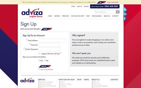 Screenshot of Signup Page adviza.org.uk - Register | Adviza - captured Oct. 10, 2014
