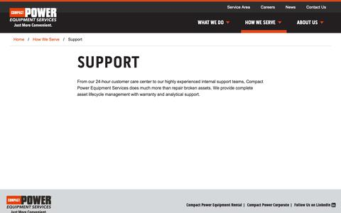 Screenshot of Support Page compactserv.com - Support | Compact Power Equipment Services - captured Sept. 29, 2018